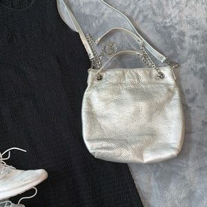 Michael Kors // Silver Crossbody Leather Purse